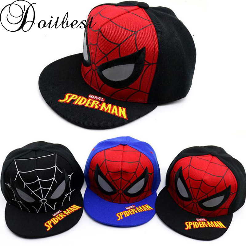 Doitbest 2 To 8 Years Children Baseball Cap Europe Hip Hop Kids Sun Hat Flat Brim Spider-man Boys Girls Snapback Caps Hats