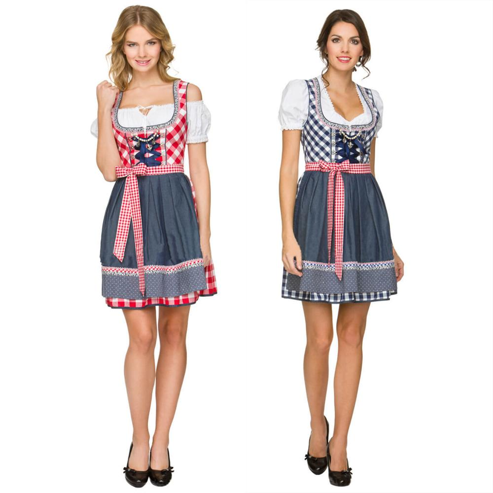Women German Dirndl Dress Beer Girl Costume Bavarian Ethnic Maid Outfit