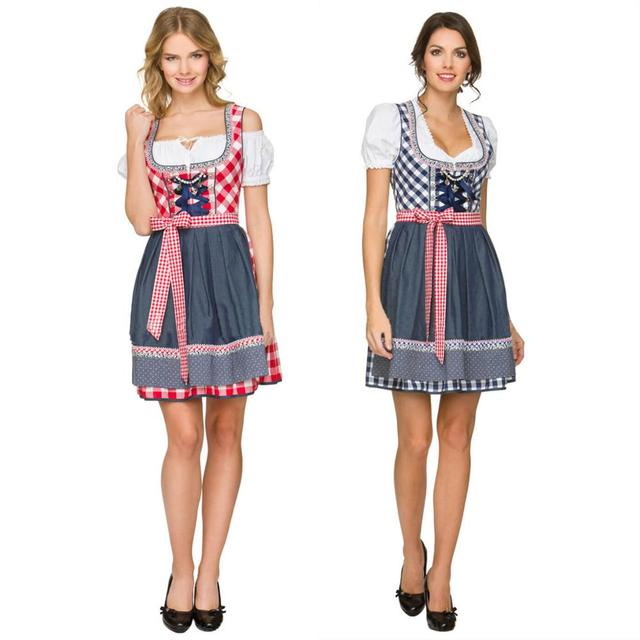 b7fc25b388 Women German Dirndl Dress Beer Girl Costume Bavarian Ethnic Maid Outfit
