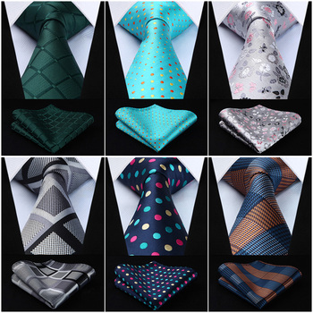 "Polka Dot Check Plaid Floral 3.4"" Silk Jacquard Party Wedding Woven Men Tie Fashion Designers Necktie Handkerchief Set #G7"