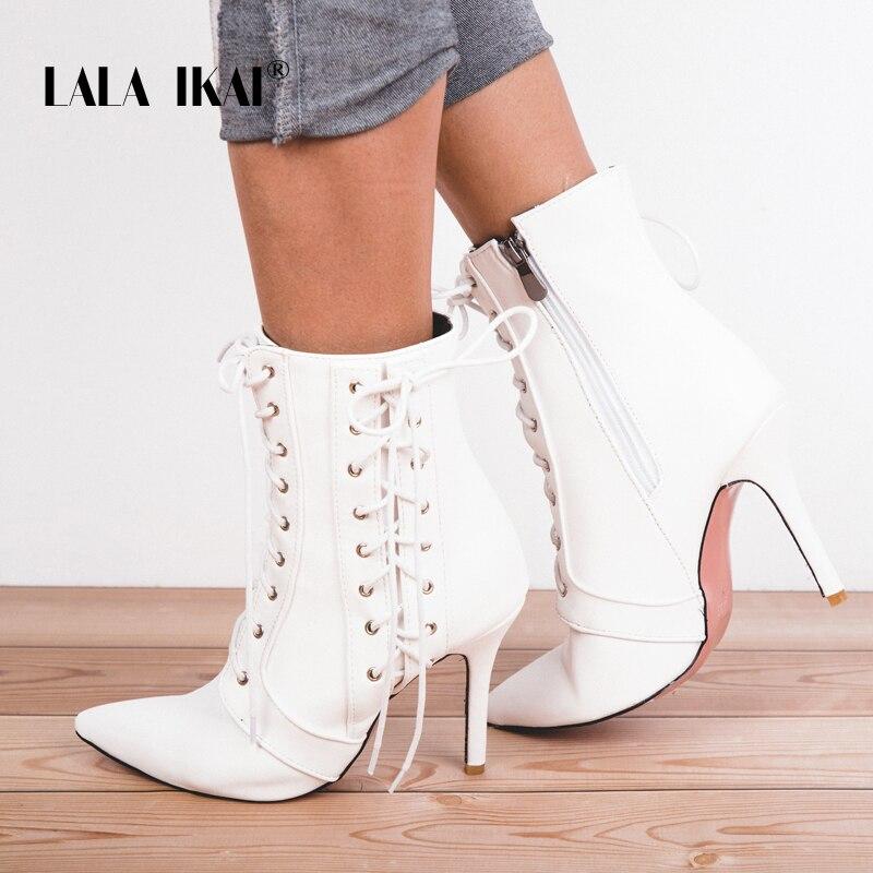 LALA IKAI Winter Boots Women Lace-Up Zipper Leather Cross-tied Decoration Pointed Toe High Heel Ankle Boots 014C2822 -4 трусы мужские jolidon цвет темно синий n10bl размер xxl 52