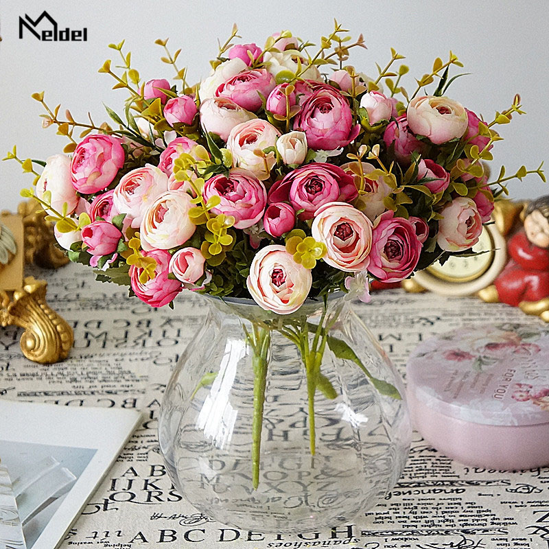 Meldel Bridal Rose Wedding Bouquet Bridesmaid Camellia Artificial Silk Bouquet Flower Arrangement Home Party Prom Decorations