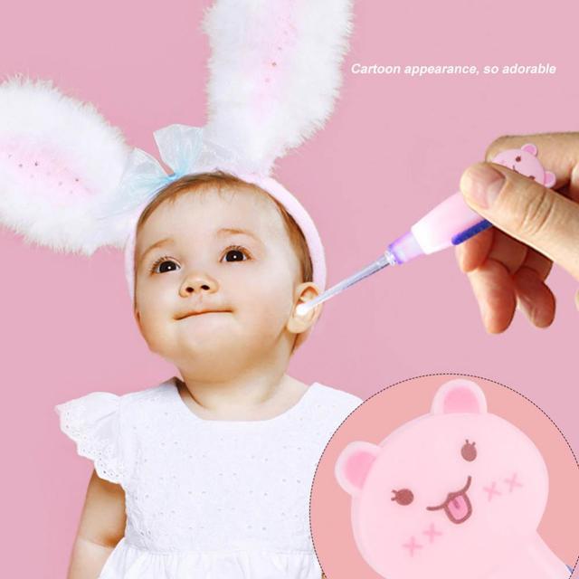 2PCS New children cartoon luminous earpick LED curette detachable earpick safe and convenient Earpick Flashlight Clean Ears
