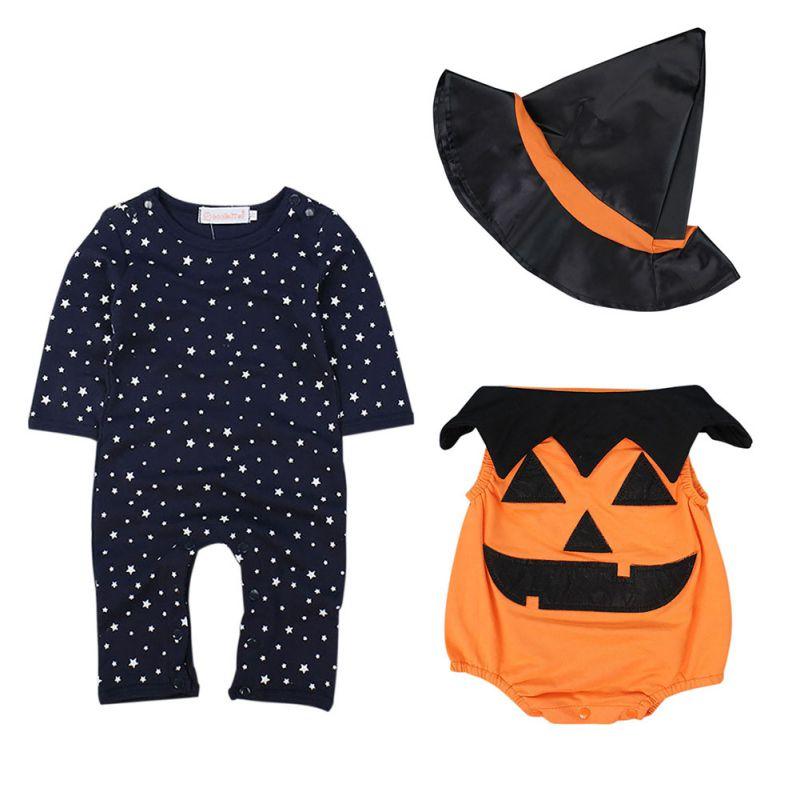2018 New Halloween Baby Romper+Pumpkin Vest +Wizard Cap Pumpkin Clothing 3pcs Set Stars infant toddler Boy Girl Clothing