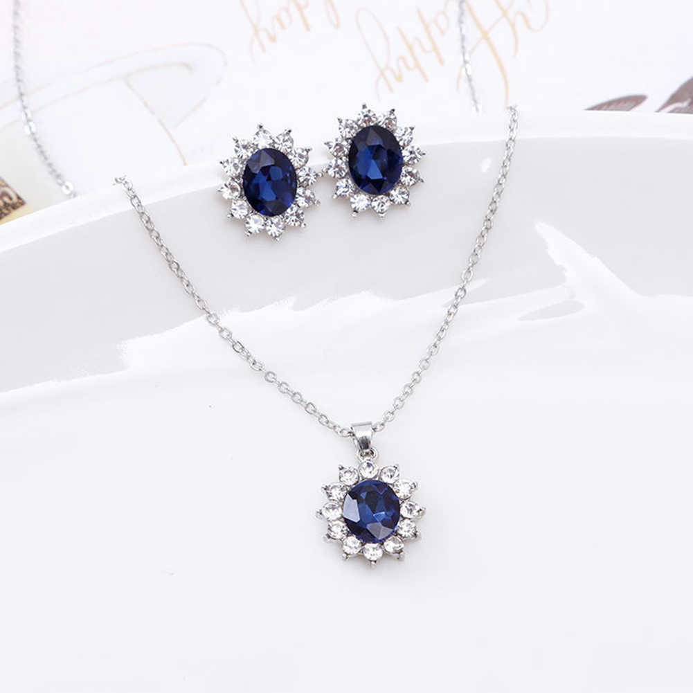 Elegant Jewelry Set Exquisite Rhinestone Pendant Necklace Earrings Women Wedding Jewelry Sets Crystal Rhinestone Decor Gift