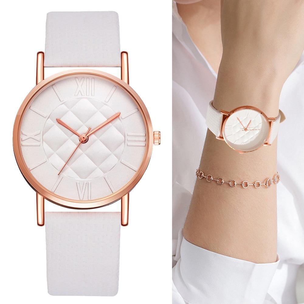 Fashion Women Leather Band Dress Quartz Wrist Watches Luxury Top Brand White Casual Sport Ladies Wristwatch Relogio Feminino стоимость