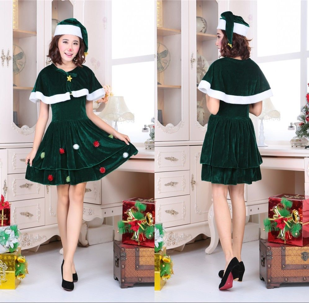 Adult Fancy Dress Christmas Tree Costume Ladies Novelty Xmas Tree Outfit New