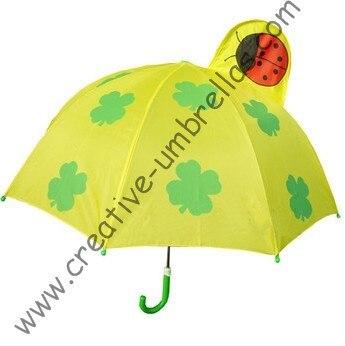 Parapluie pour enfants, parapluie de dessin animé pour enfants-trèfle à quatre feuilles, ouverture automatique, arbre en métal de 8mm et nervures cannelées, parapluies pour enfants en toute sécurité