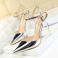 Women's Super High Heel Sandals Pointed Toe Ankle Strap Shallow Lady Shoes Patent Leather Sexy Elegant Party Shoes for Nightclub