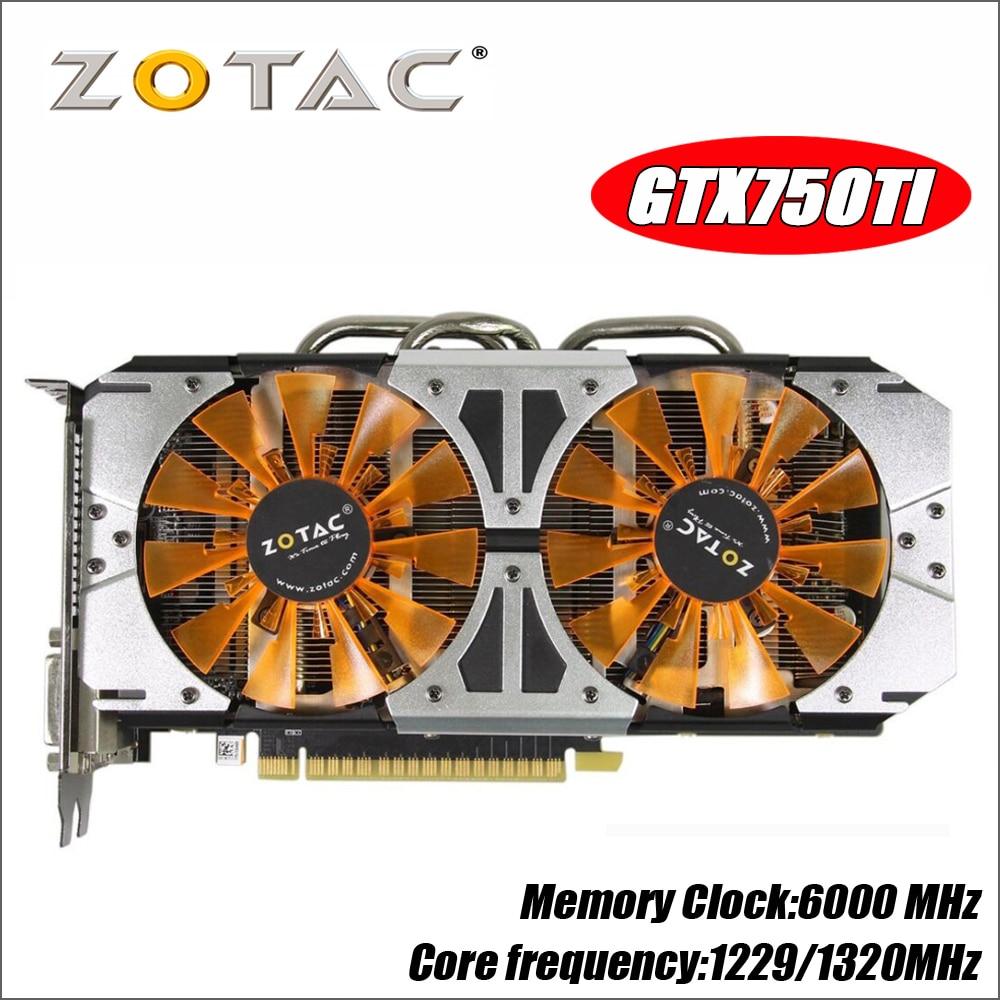 Original tarjeta de Video ZOTAC GM170 GPU GTX 750Ti 2 GB 128Bit GDDR5 tarjetas gráficas mapa para nVIDIA GeForce GTX750 Ti 2GD5 750 1050