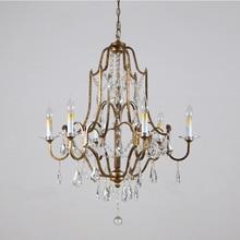 Lustre rétro de Style américain Phube Valentina Lustre en Bronze oxydé à 6 lumières Lustre en cristal Lustre lumière éclairage à la maison
