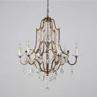 Phube американский стиль ретро люстра Валентина 6 легкая окисленная Бронзовая Люстра хрустальная люстра блеск свет домашнего освещения