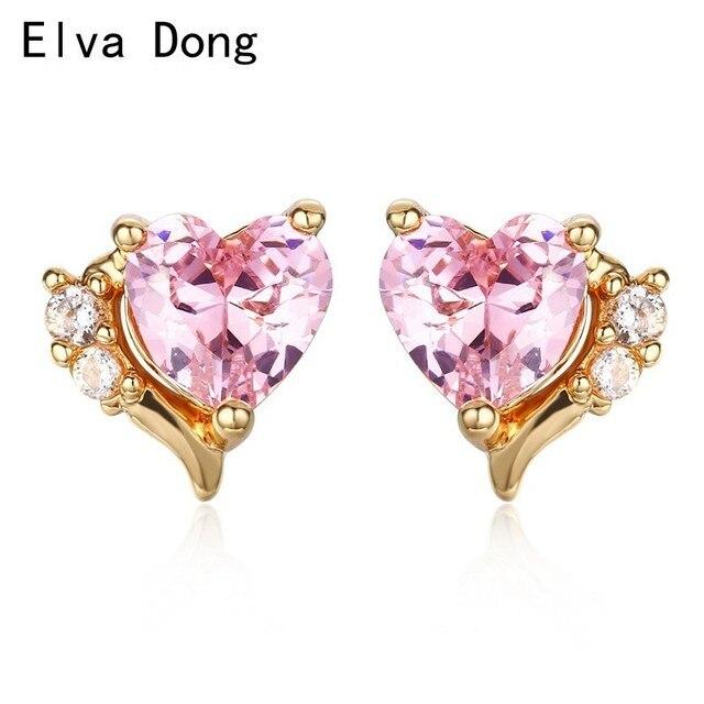 Mini Small Cute Pink Cz Love Heart Stud Earrings For Women Kids S Baby Child Piercing