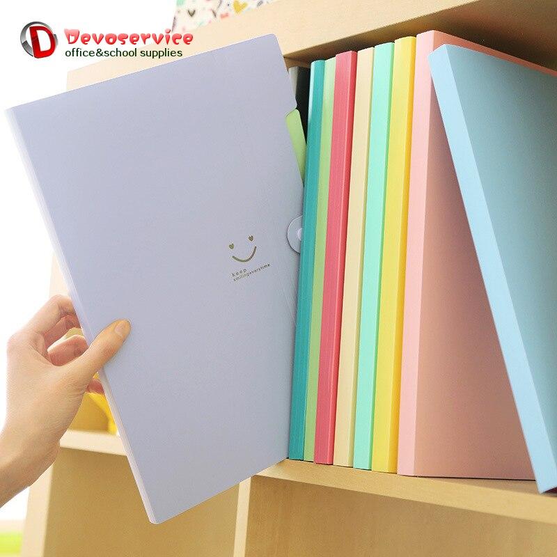 Nouveau 4 couleurs A4 Kawaii Carpetas sourire imperméable Carpeta fichier dossier 5 couches Archivadores Anillas Document sac bureau papeterie