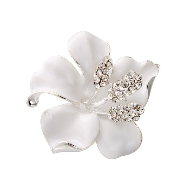 Silver Plated Rainstone Flower Girl Jewelry  Breastpin Pin Brooch Clear Crystal Luxury Bridal Brooshes Dainty Flower Pin