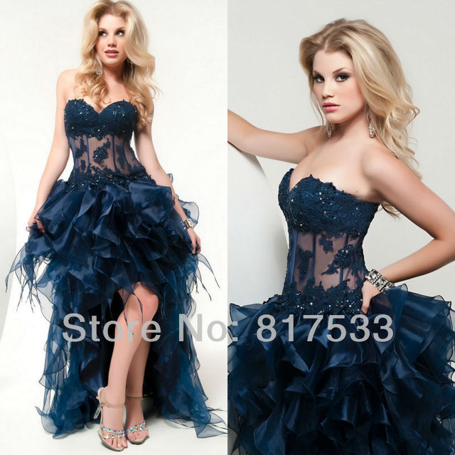 Ostrich Feathers Prom Dress High Low Prom Dresses With Sequins