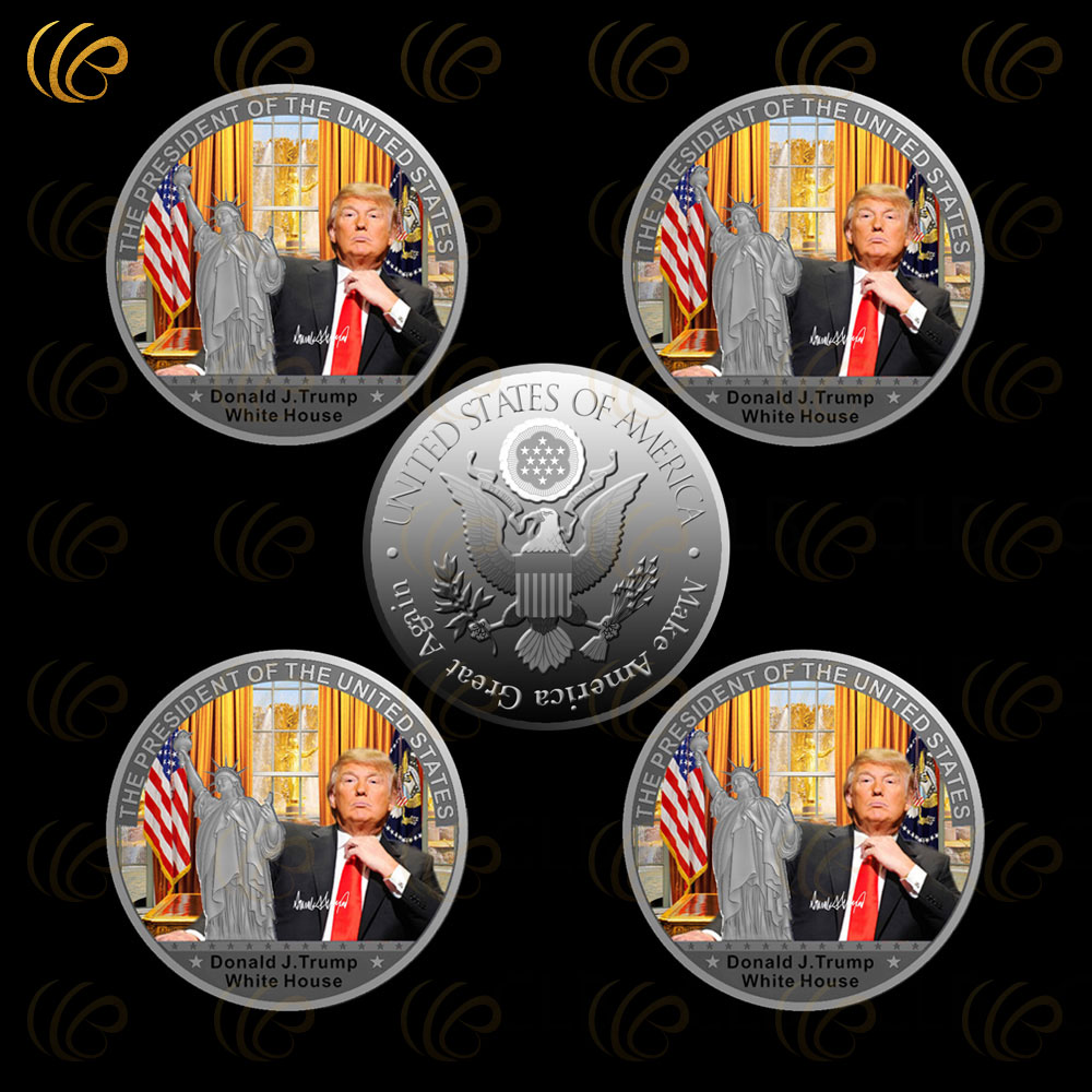 Donald font b Trump b font Silver Coin The White Hourse Silver Plated Coin The 45th