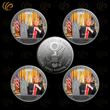 Donald Trump Silver Coin The White Hourse Silver Plated Coin The 45th President Metal Coin with Plastic Case Free Shipping
