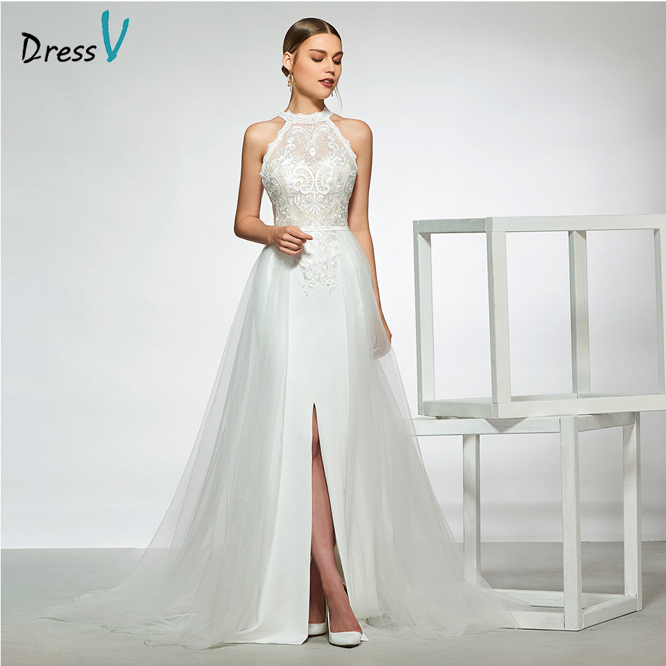 Dressv elegant sample halter neck a line wedding dress sleeveless button lace floor length simple bridal gowns wedding dress