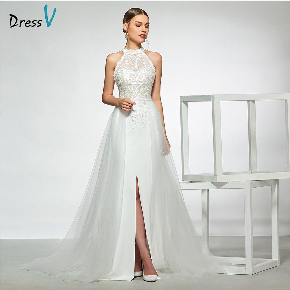 Samples Of Wedding Gowns: Dressv Elegant Sample Halter Neck A Line Wedding Dress