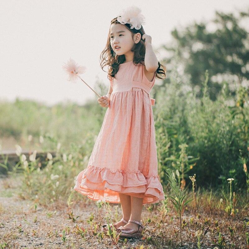 Summer New Girl Cotton Linen Long Dress Kids Sleeveless Princess Dress Girls Lovely One Piece Children Sundress,Pink,4T