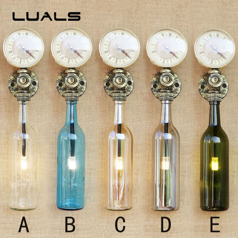 Loft Retro Lamp Creative Glass Bottles Indoor Lighting Wall Lamps Restaurant Bar Wall Light Industrial Style Wall sconce