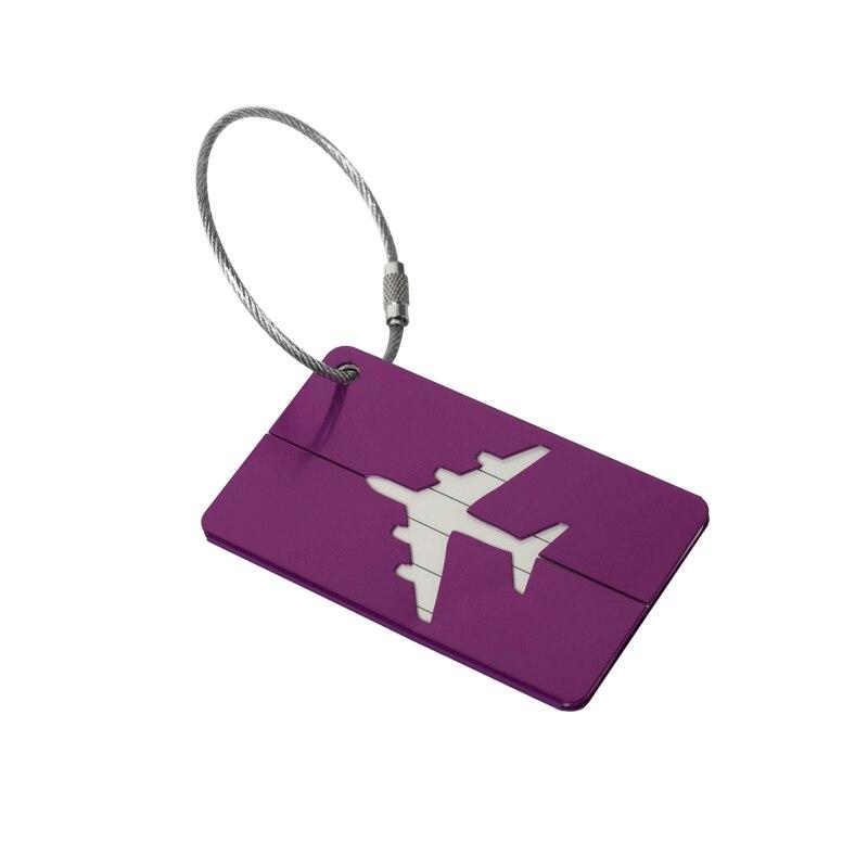 OKOKC багажные бирки из алюминиевого сплава, багажные бирки, ярлыки для багажа, аксессуары для путешествий - Цвет: Purple