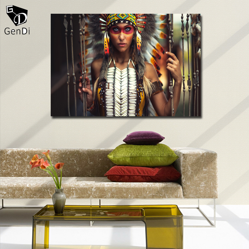 Gendi Native American Girl Wall Art Painting Pictures Home Decor Rhaliexpress: Native American Paintings For Living Room At Home Improvement Advice
