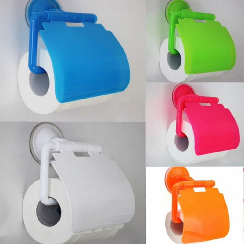 1pc Durable Rolling Paper Holder Plastic Suction Cup Rack Punch-free Bathroom Toilet Gadget Easy Toilet Paper Towel Holder