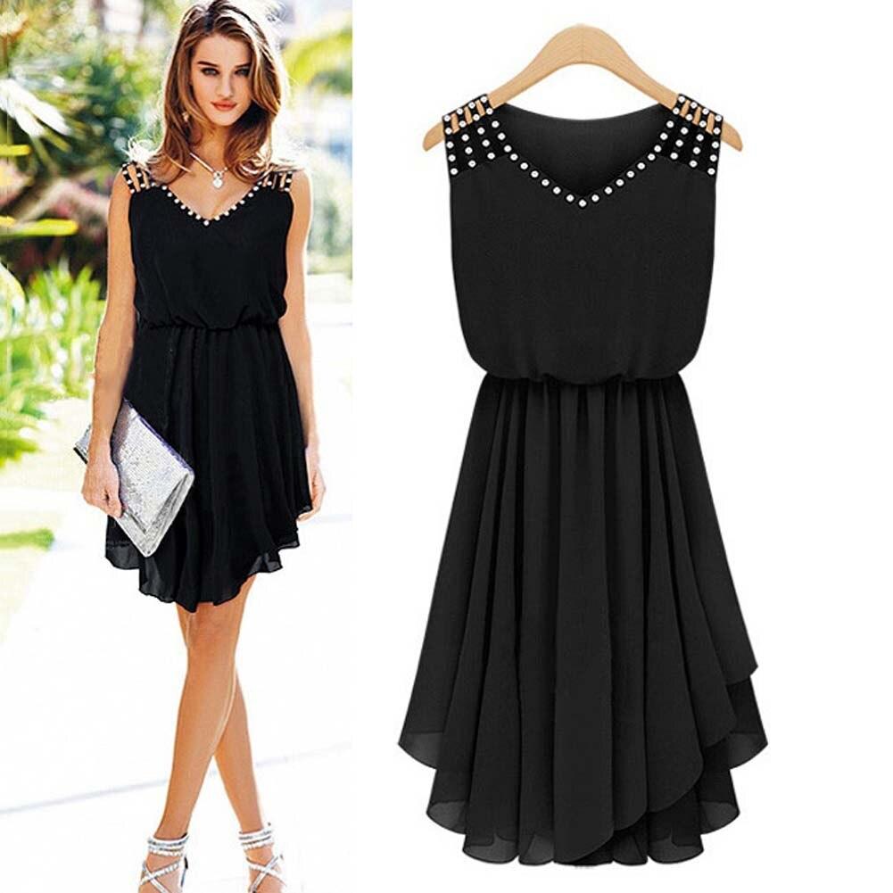 2018 Fashion Style New Summer Women Dress Black Elegant Party Dresses Festa Chiffon Bodycon Beach Dress Sundress Celebrity