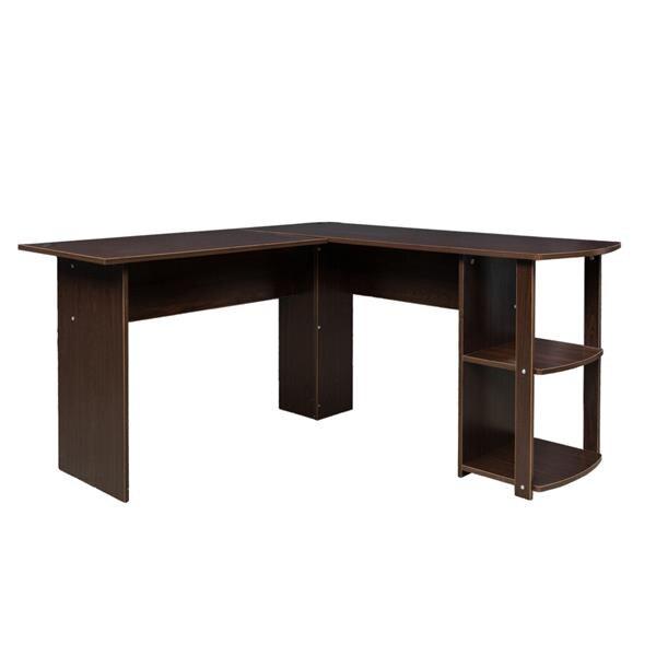 Bureau d'ordinateur à angle droit en bois en forme de L avec étagères à deux couches brun foncé