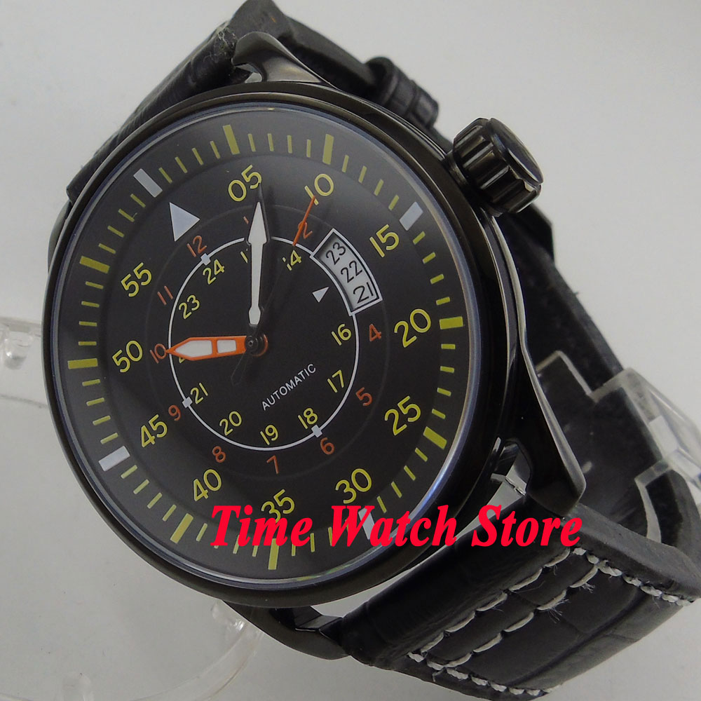 44mm Planca PVD case black dial date window luminous 24 hours MIYOTA Automatic movement men's watch men PL3 44mm planca black dial luminous 24 hours miyota automatic movement men s watch men pl1