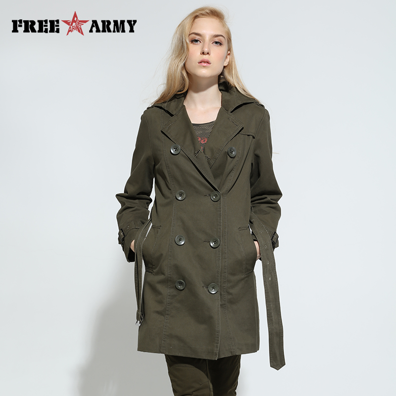 FREEARMY Female Trench Coat For Women Spring Long Coat Double Breasted Army Green Women's Outerwear 2018 Autumn Women Fashion