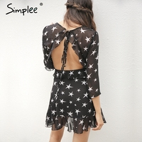 Simplee Hollow out boho beach summer dress woman 2017 lace up backless ruffle sexy dress Short chiffon star black dress vestidos
