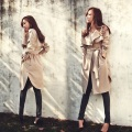Hot selling women ladies trench coat plus size fall winter fitted solid color simple elegant casacos femininos CT146