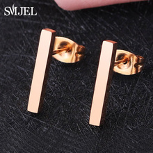 SMJEL New 2018 Simple Bar Earrings for Women Rose Gold Geometric Long Square Stud Earring Jewelry Wholesale Gifts