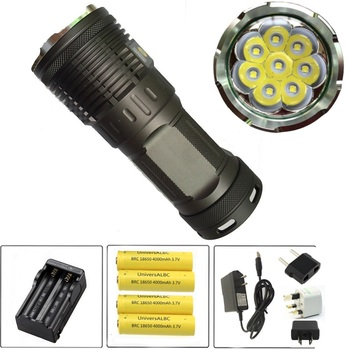 Skyray King 8R8 8xCree XM-L R8 12000 Lumens LED Tactical Flashlight Torch BIke Lamp With LCD Display +4x18650 battery+2x Charger