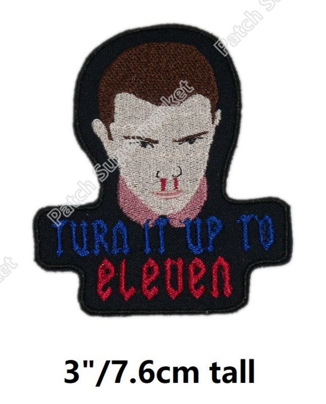 3 Stranger Things TURN IT UP TO ELEVEN Patches TV Movie Film Series Embroidered iron on