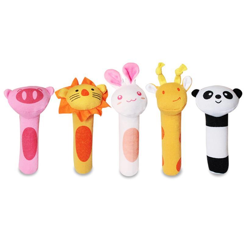 1Pcs Newborn Infant Baby Rattle Toys Cute Animal Bell Plush Handbells Soft Monkey Tiger Lion Pig Rabbit Giraffe BiBi Sound Bars