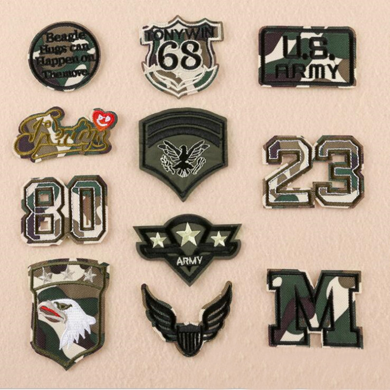 Camouflage Repair Patch Embroidered Iron On Patches For Clothing Close Shoes Bags Badges Embroidery DIY