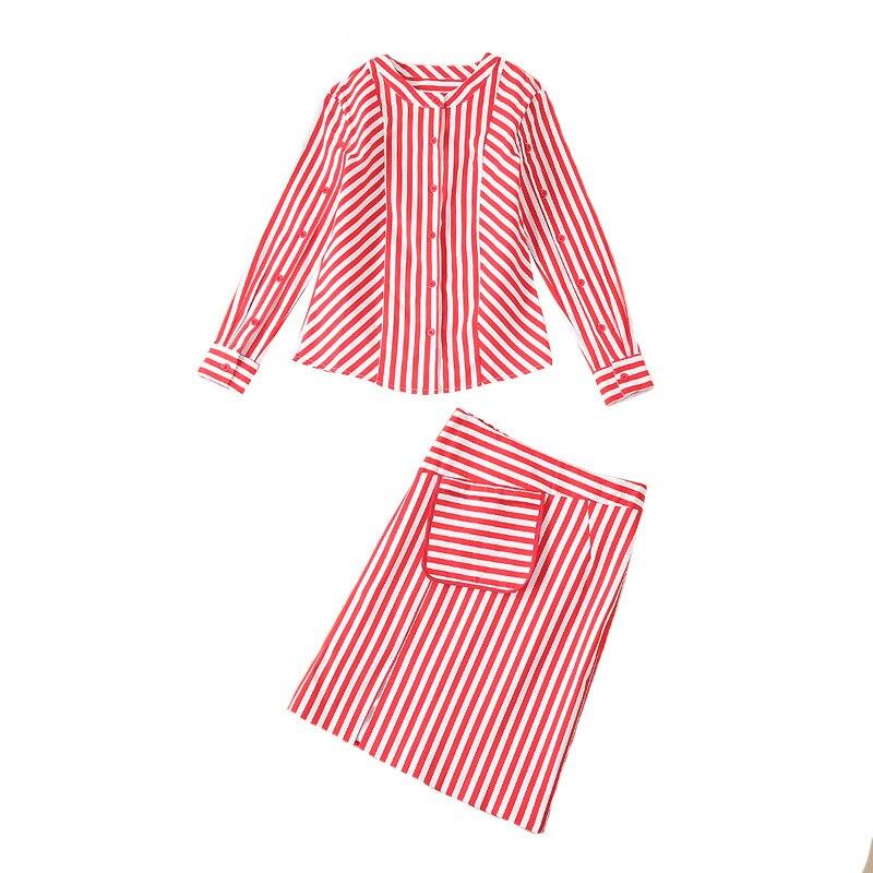 Fente Jupe Chemise 1 Petit Nouveau Femelle Taille Simple Marée Parfum 2019 Costume Haute Deux Ensembles Mince Rayée Avec Minceur De Moitié xFPnSO