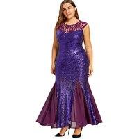 CharMma 2018 Vintage Plus Size 5XL Sequined Maxi Mermaid Party Dress Women Elegant Trumpet Floral Lace