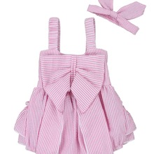 487e302561f Oklady Baby Girls Striped Rompers Seersucker Bubble Straps Ruffle Layers  Bowknot Romper(China)
