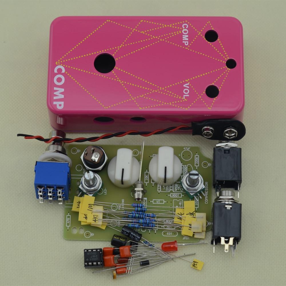 diy electric compressor stomp pedal guitar effect pedal true bypass pedal aluminum pink box kit. Black Bedroom Furniture Sets. Home Design Ideas