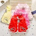 2016 новорожденных девочка пальто одежда 100% хлопок лук принцесса платье пальто детей 1-2 лет высокое качество бесплатная доставка