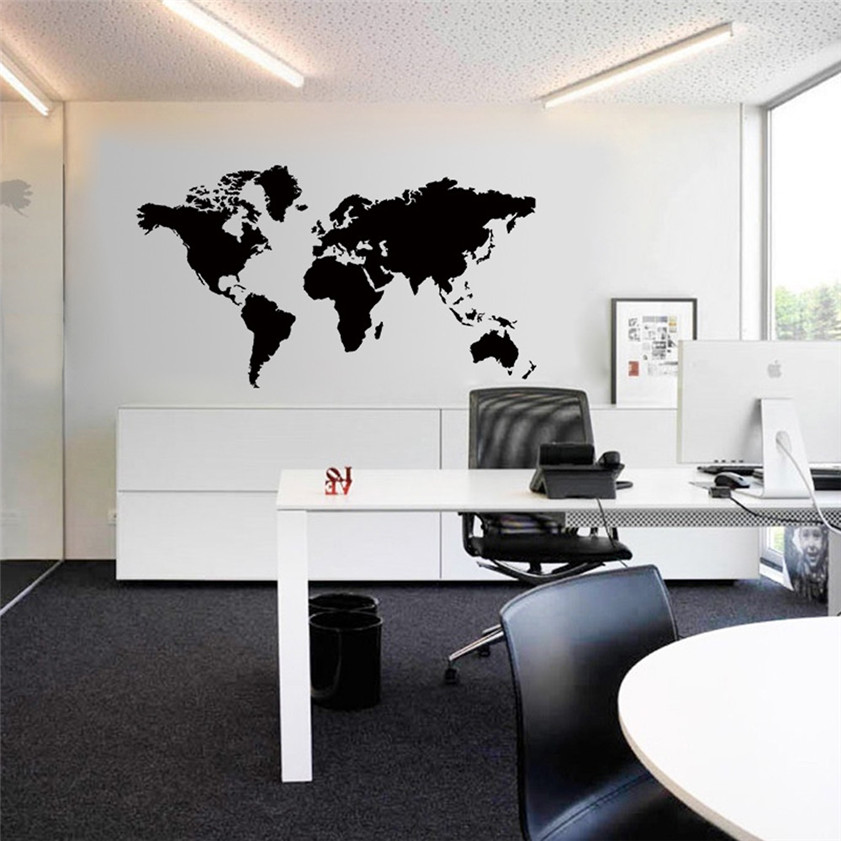 High Quality New Design Wall Stickers World Map Removable Vinyl Wall  Sticker Wallpaper Home Office Art