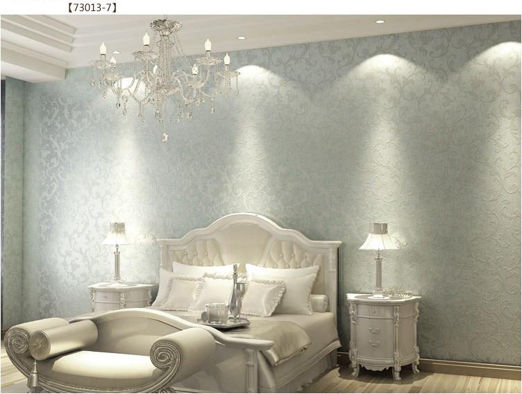 Non woven bedroom wallpaper Textured glitter metallic damask ...