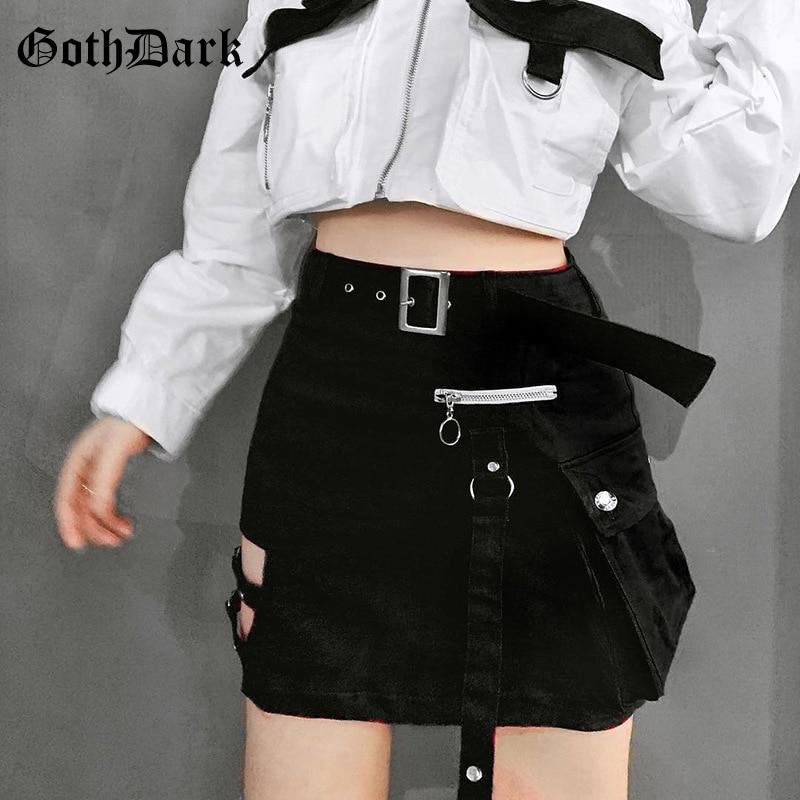 Goth Dark Solid Black Patchwork Hollow Out Skirts For Women Gothic Summer 2019 Hole Grunge Eyelet Zipper Skirt Fashion Punk
