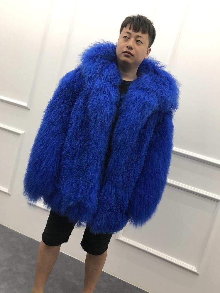 HTB1yv6XXKP2gK0jSZFoq6yuIVXaH 2019 Men's real mongolian sheep fur coat hooded warm winter outerwear lapel beach wool fur overcoat long sleeve Jacket