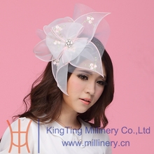 Free Shipping Women Fascinator Hats Hair Accessory Wedding Hair Accessories Hairdress White Flowers Hairbands Mesh Veilings